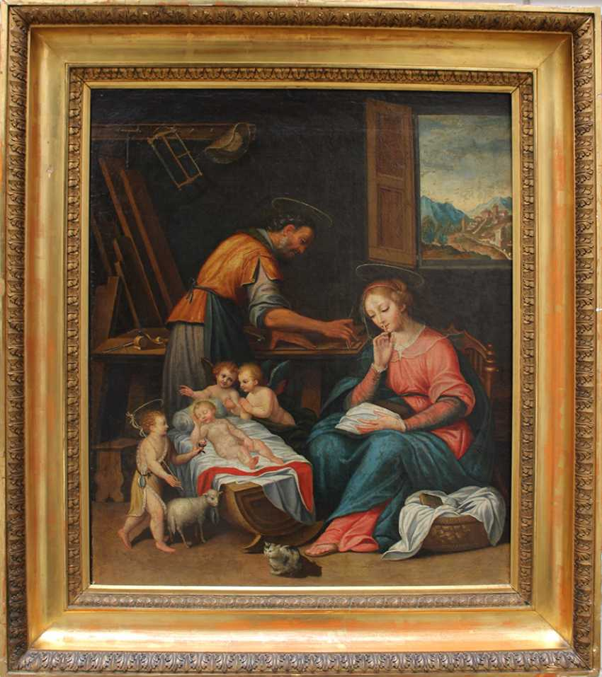 Francesco Albani (1578–1660)-circle, The Holy Family in Joseph's carpenter workshop with the sleeping child, Saint John, angels and Maria asking for silence - photo 1