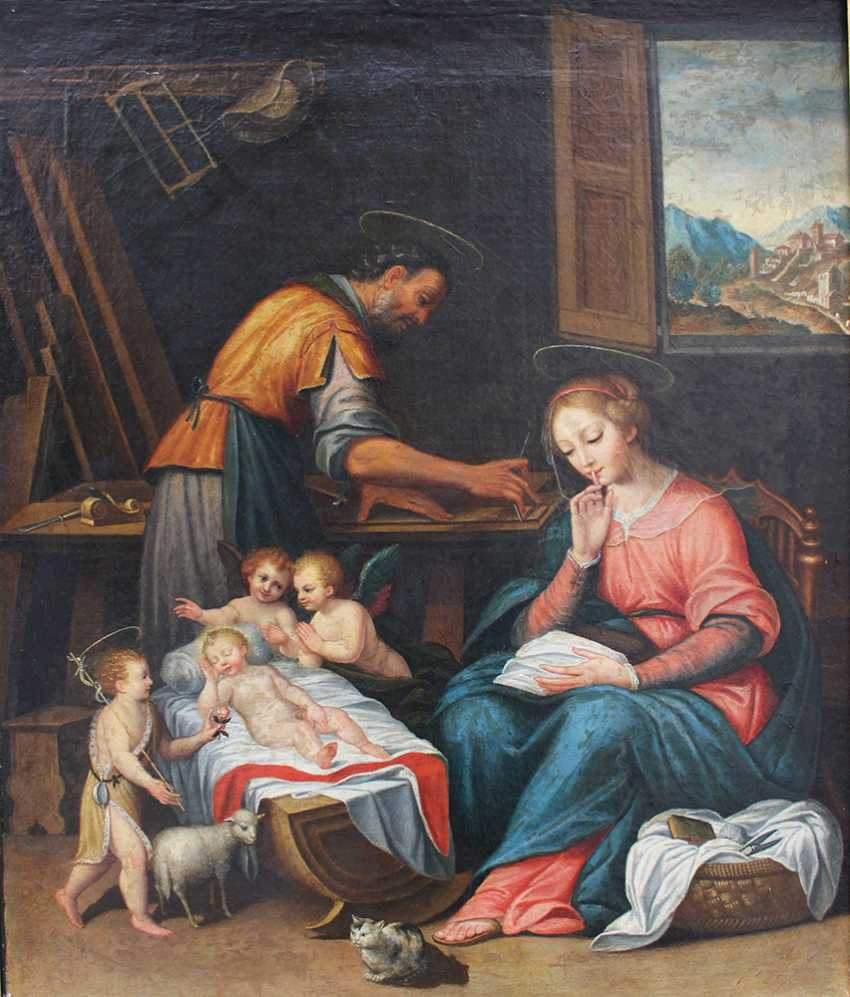 Francesco Albani (1578–1660)-circle, The Holy Family in Joseph's carpenter workshop with the sleeping child, Saint John, angels and Maria asking for silence - photo 2