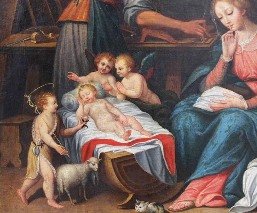 Francesco Albani (1578–1660)-circle, The Holy Family in Joseph's carpenter workshop with the sleeping child, Saint John, angels and Maria asking for silence - photo 3