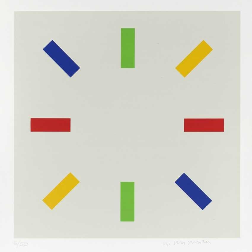 "Portfolio: ""star / Stars"" - a sequence of three color serigraphs on smooth cardboard by Hermann Glöckner - photo 1"