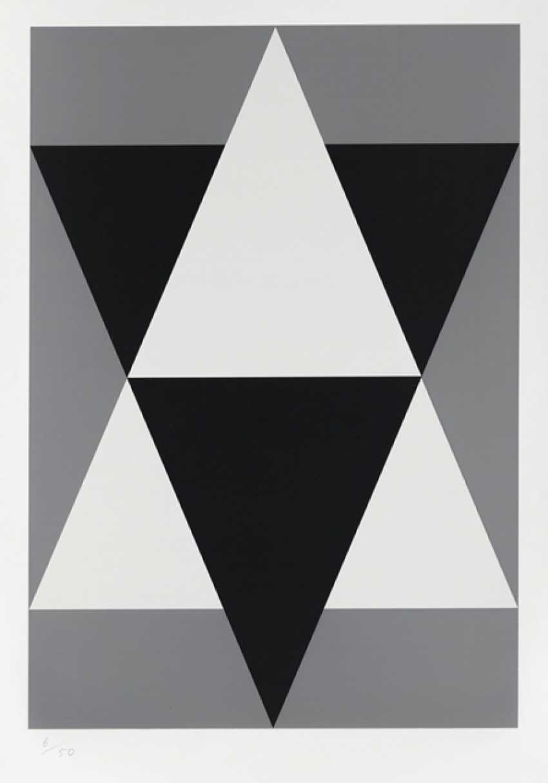 "Portfolio: ""star / Stars"" - a sequence of three color serigraphs on smooth cardboard by Hermann Glöckner - photo 2"