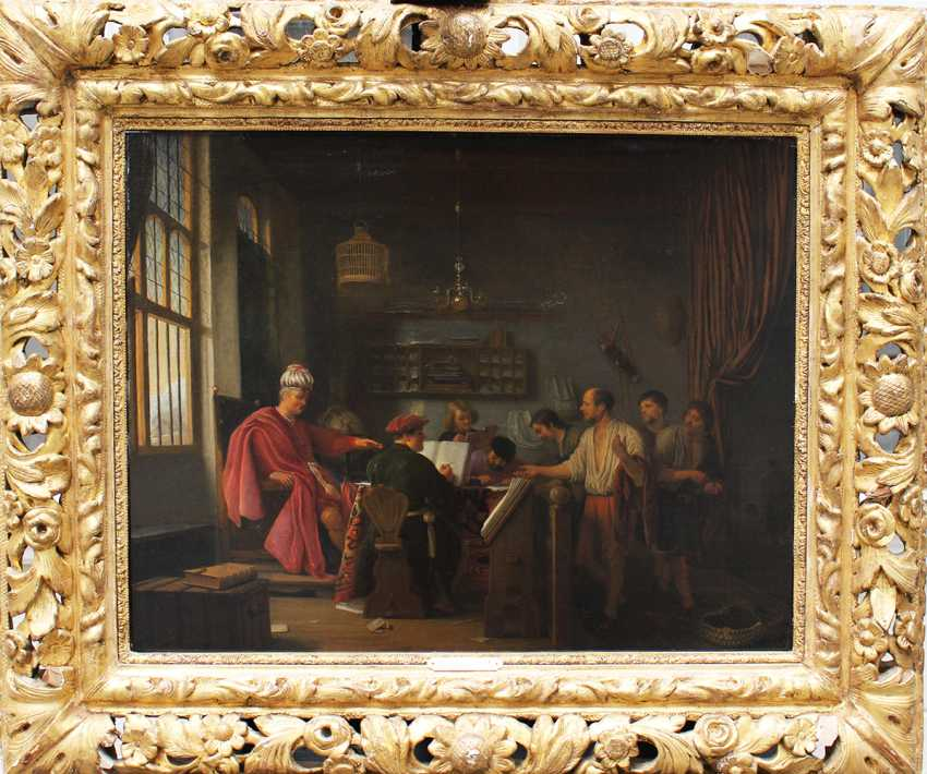 Hendrik Martenszoon Sorgh (1610 –1670), Allegorical scene of a noble interior with some officials and workers - photo 1