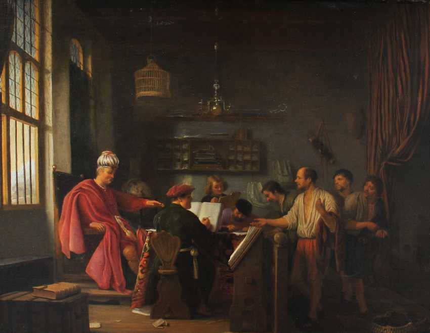 Hendrik Martenszoon Sorgh (1610 –1670), Allegorical scene of a noble interior with some officials and workers - photo 2