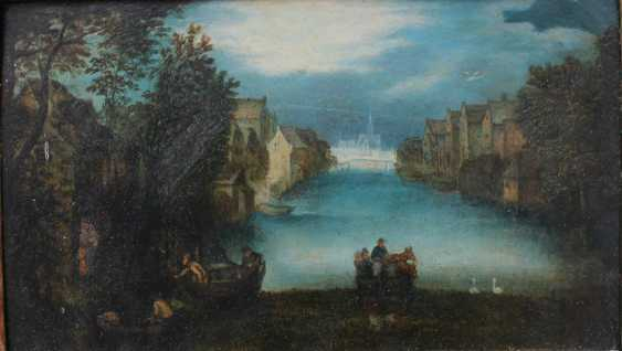 Jan Brueghel the Younger (1601-1678)-circle, Landscape with ferry and boats by a river with houses and swans, some travellers nearby and a church in the distance - photo 2