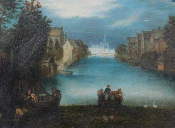 Jan Brueghel the Younger (1601-1678)-circle, Landscape with ferry and boats by a river with houses and swans, some travellers nearby and a church in the distance - photo 3