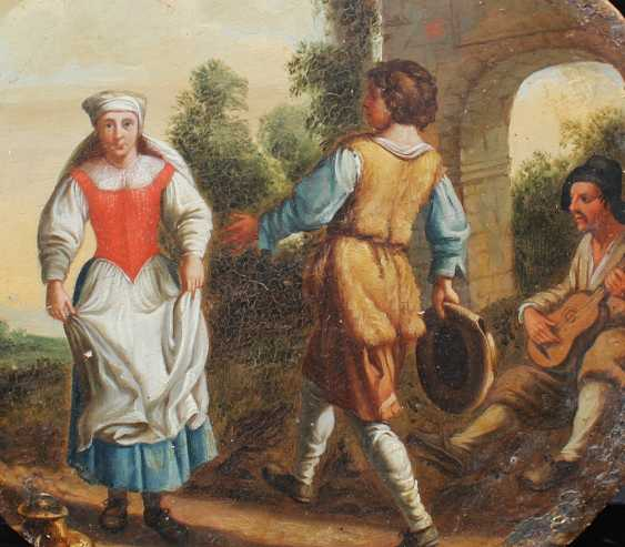 Roman Bamboccianti around 1700, Girl and boy dancing in front of a monument with gitar player in landscape - photo 2