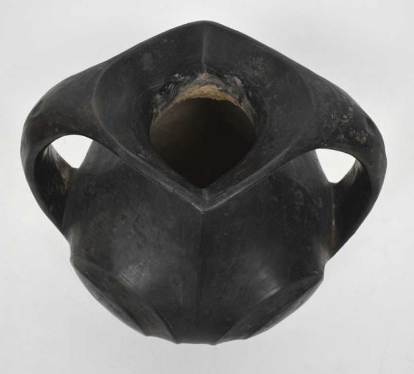 Amphora made of black clay with two ribbon handles - photo 2