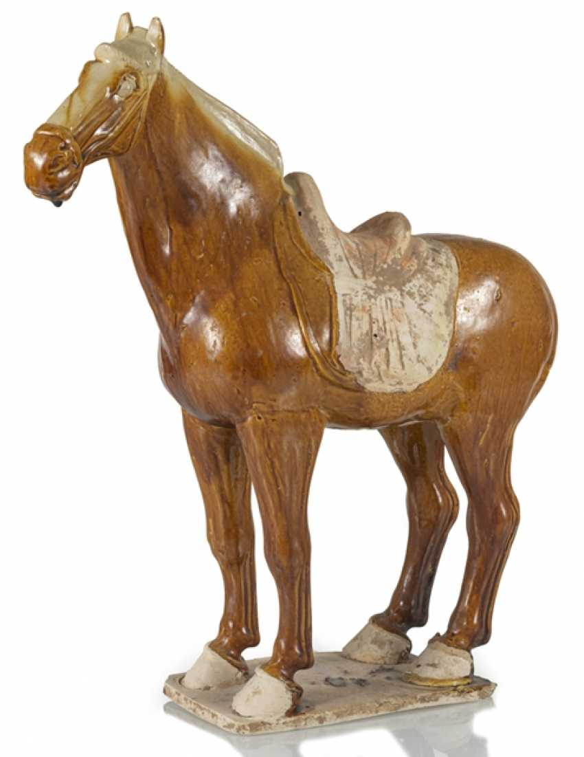 Brown-glazed Earthenware model of a standing horse - photo 1