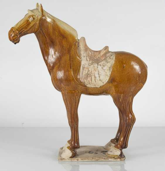 Brown-glazed Earthenware model of a standing horse - photo 2