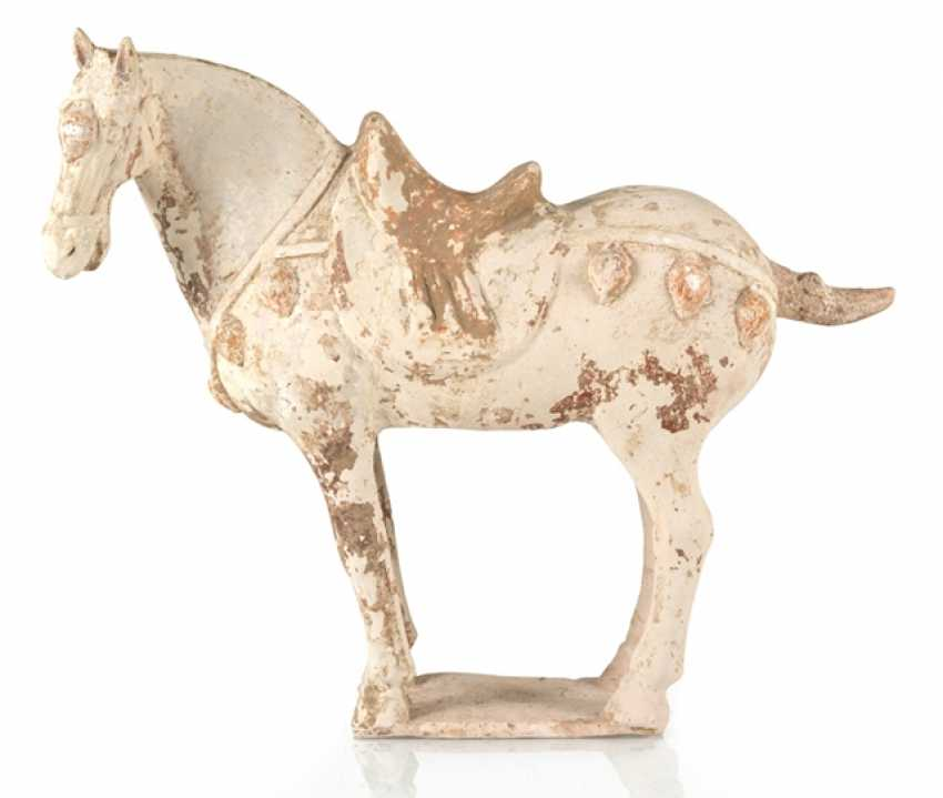Unglazed pottery model of a standing horse - photo 1