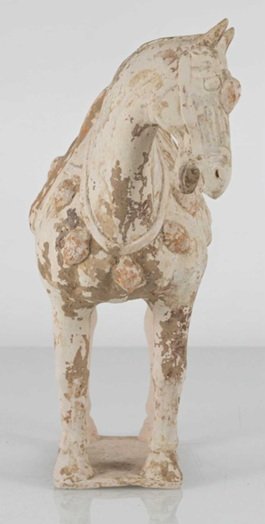 Unglazed pottery model of a standing horse - photo 4