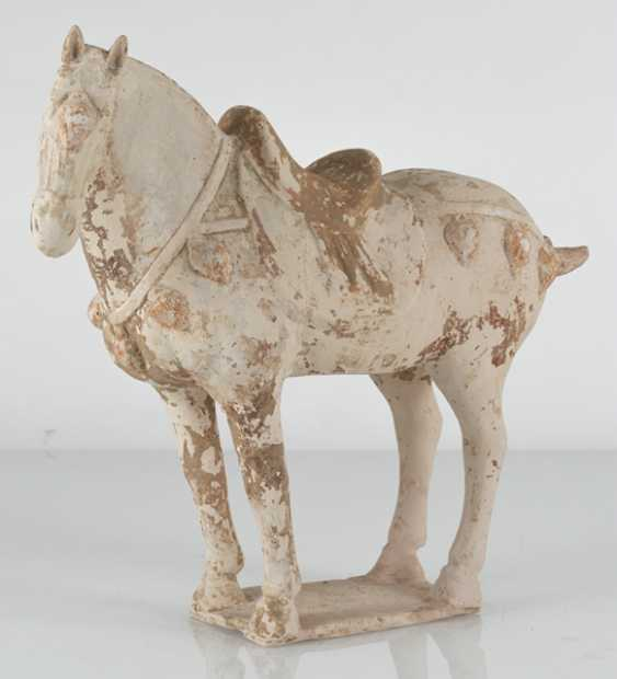 Unglazed pottery model of a standing horse - photo 5