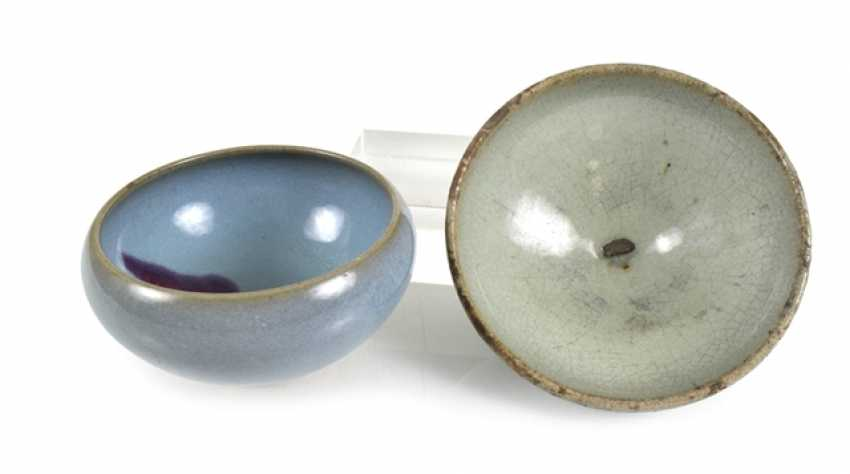 Two 'junyao'bowls with turquoise glaze and violet stain - photo 1