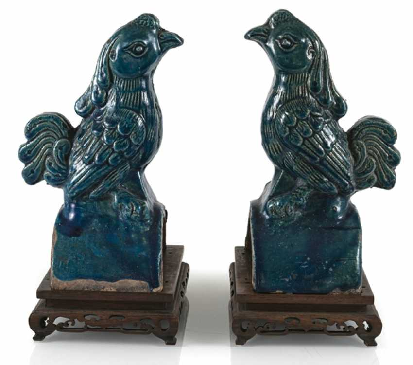 Pair of turquoise glazed ceramic roof tab in Phoenix Form - photo 1