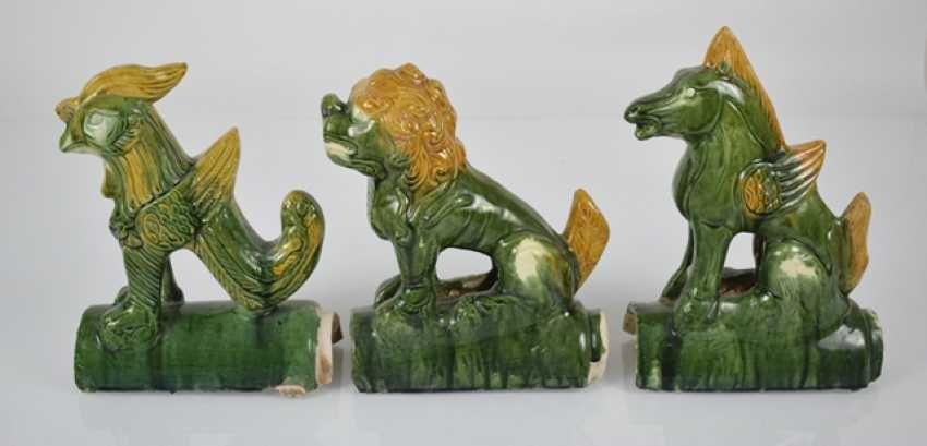 Six roof tab in the Form of animals and mythological creatures, with a 'sancai'-glaze - photo 4