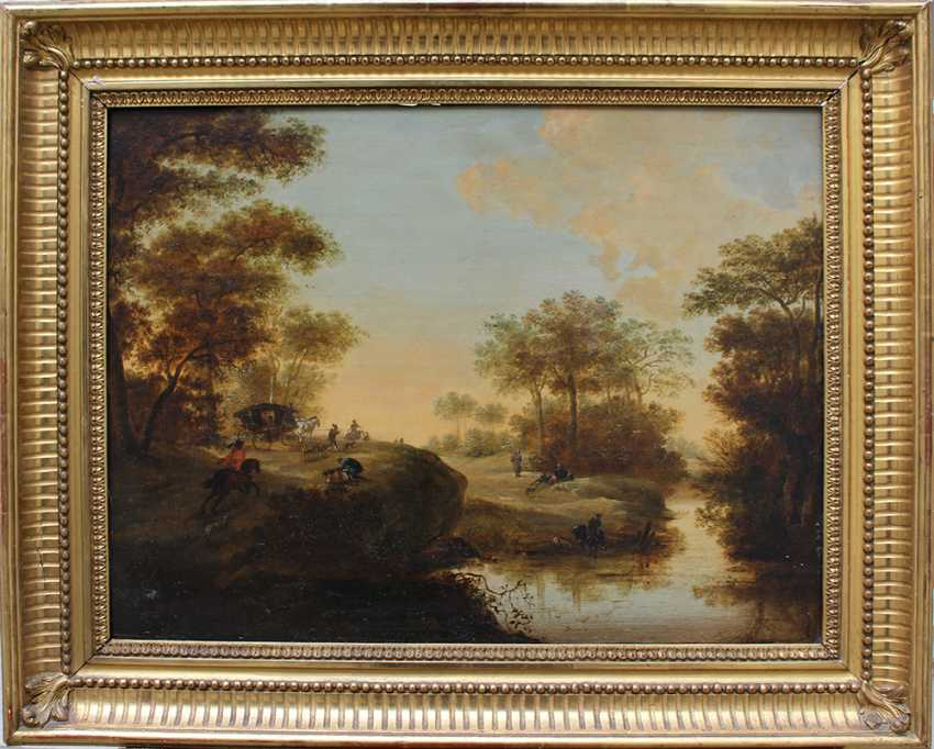 Pieter Meulener (1602-1654)-attributed, Landscape with hunters, horse riders and a coach by a river - photo 1