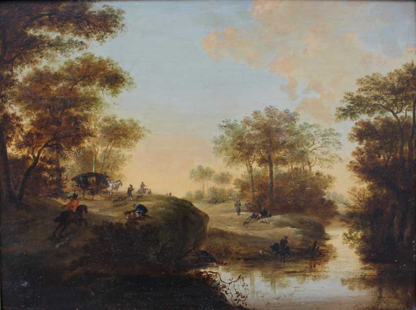 Pieter Meulener (1602-1654)-attributed, Landscape with hunters, horse riders and a coach by a river - photo 2
