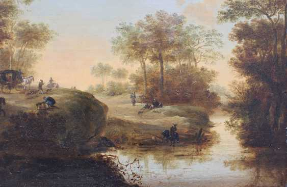 Pieter Meulener (1602-1654)-attributed, Landscape with hunters, horse riders and a coach by a river - photo 3
