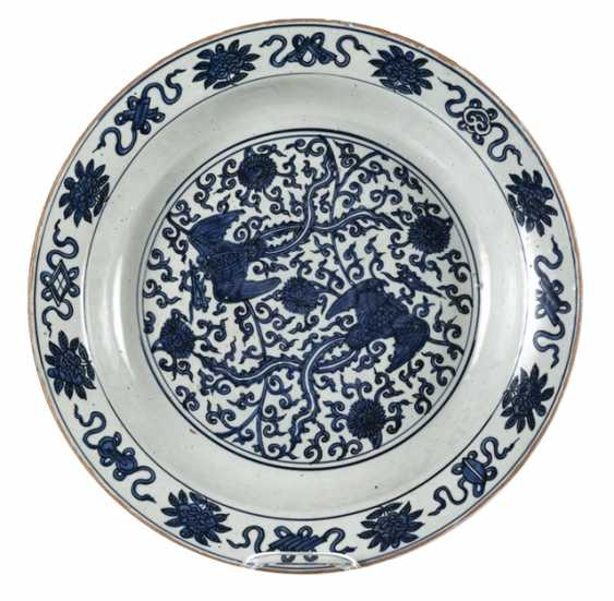 Large under glaze blue Phoenix porcelain bowl - photo 1