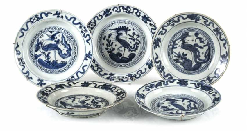 Five plates with underglaze blue Phoenix decor - photo 1