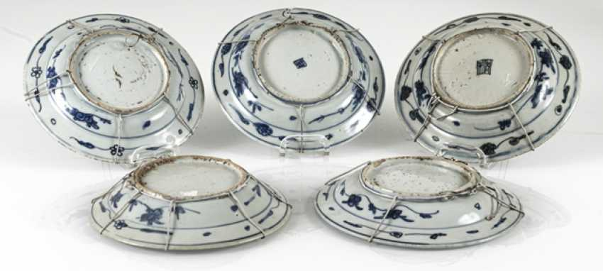 Five plates with underglaze blue Phoenix decor - photo 2