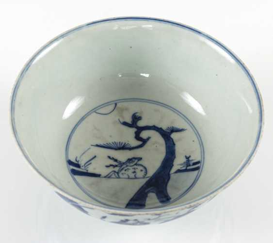 Under glaze blue decorated porcelain bowl with scholar and servant boys - photo 2