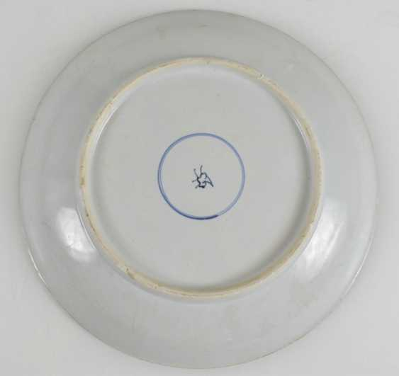 Powder blue plate with floral medallions with copper red - photo 1