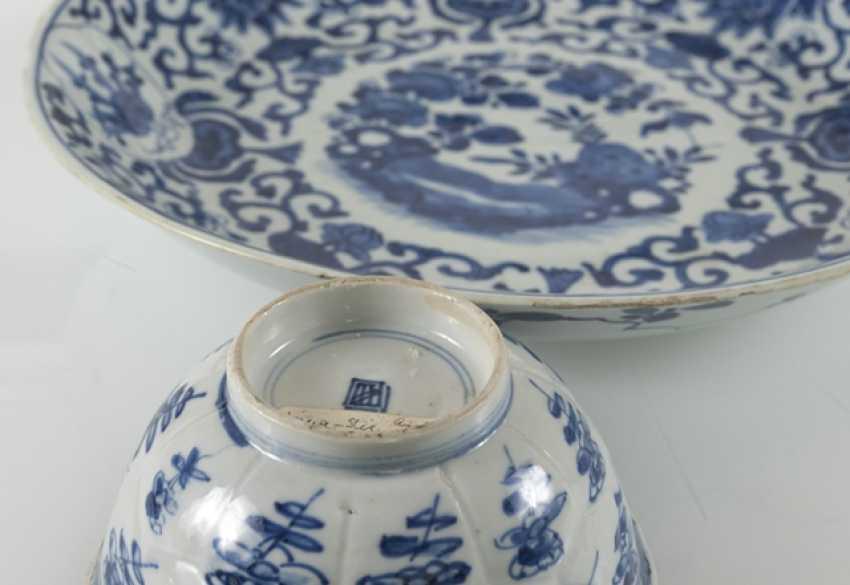 Under glaze blue bowl and Kumme made of porcelain with flower decor - photo 4
