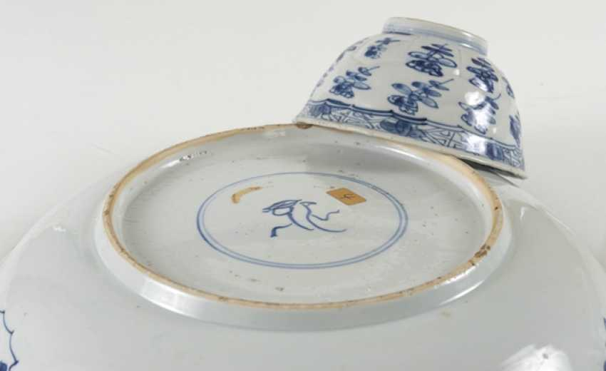 Under glaze blue bowl and Kumme made of porcelain with flower decor - photo 5
