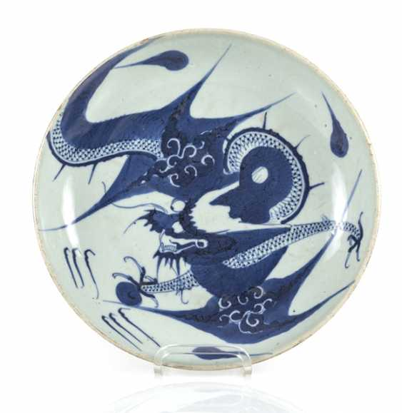 Blue-and-white decorated dragon porcelain plate - photo 1