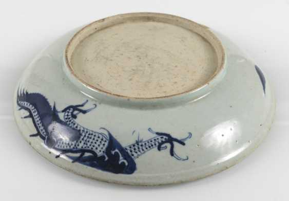 Blue-and-white decorated dragon porcelain plate - photo 2