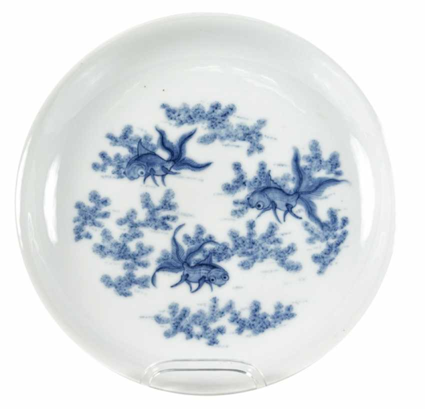 Plate with underglaze blue decoration of gold fish between water plants - photo 1