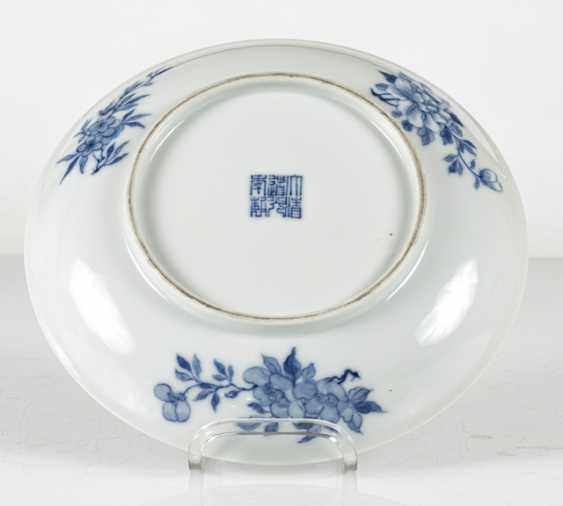 Plate with underglaze blue decoration of gold fish between water plants - photo 3