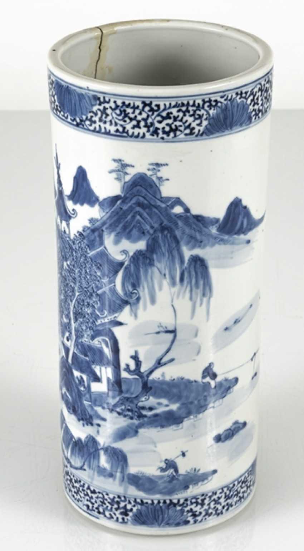 Cylindrical Vase made of porcelain with underglaze blue landscape decoration - photo 6