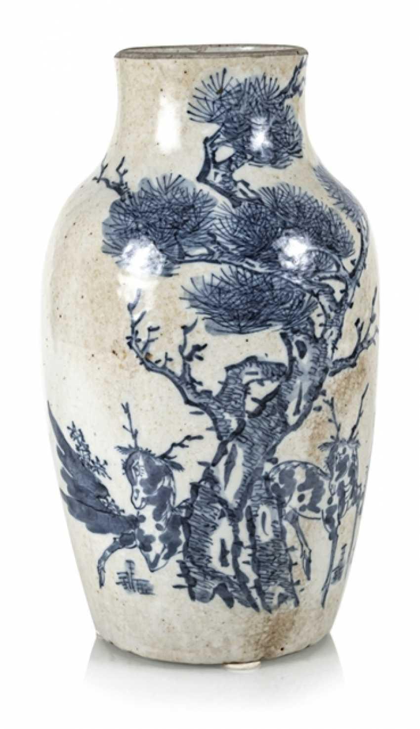 Porcelain vase with under glaze blue Qilin decor - photo 5