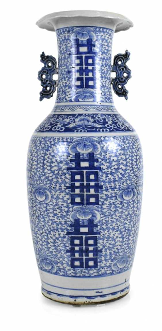 Floor vase made of porcelain with a blue-and-white Shuangxi decor and side Handle - photo 1