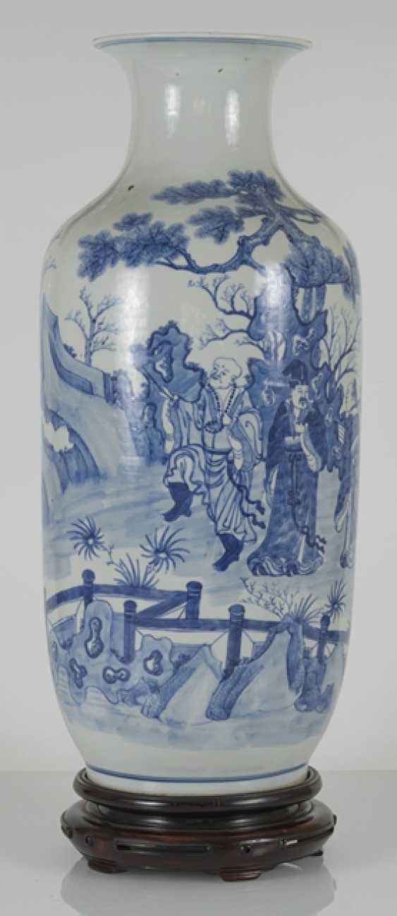 Under glaze blue decorated floor vase made of porcelain with a depiction of Su Shi and Qin Guan - photo 2