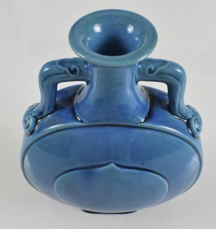 Turquoise-glazed pilgrim bottle of porcelain - photo 3