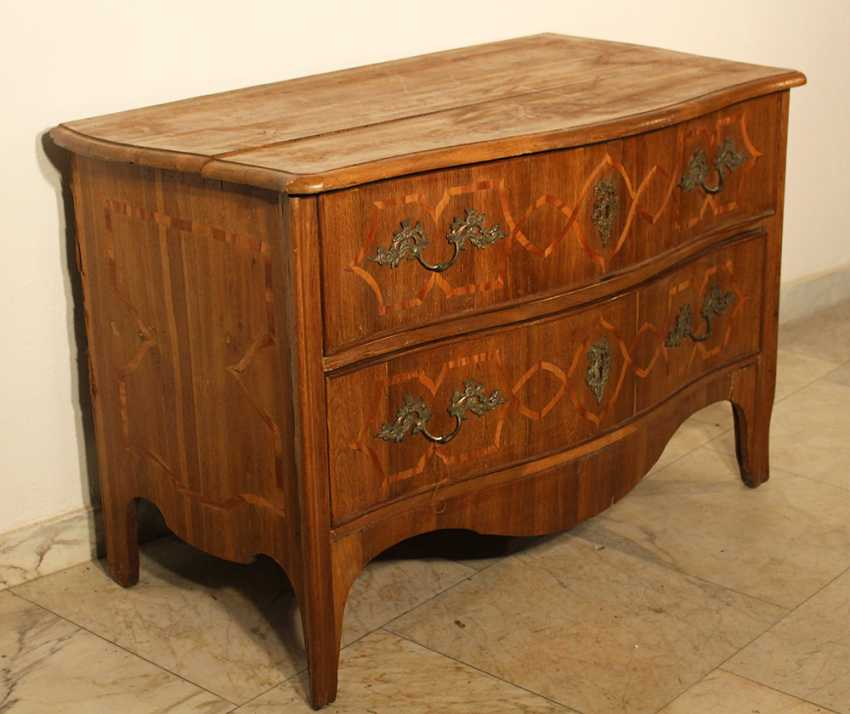 A Bohemian baroque commode, on four long legs with two drawers and shaped front - photo 1