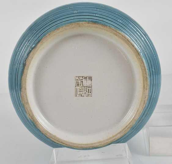 Turquoise-glazed bullet vase with bamboo imitierendem decor - photo 3