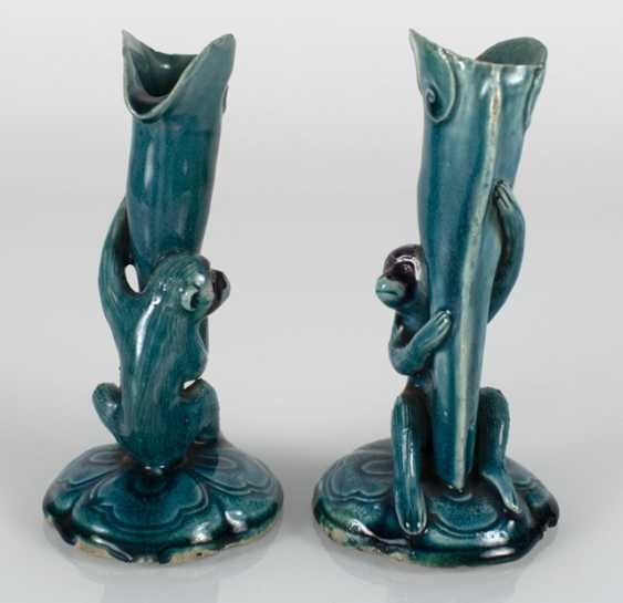 Pair of turquoise and purple glazed vase made of Biscuit porcelain with monkeys on the leaf goblets - photo 2