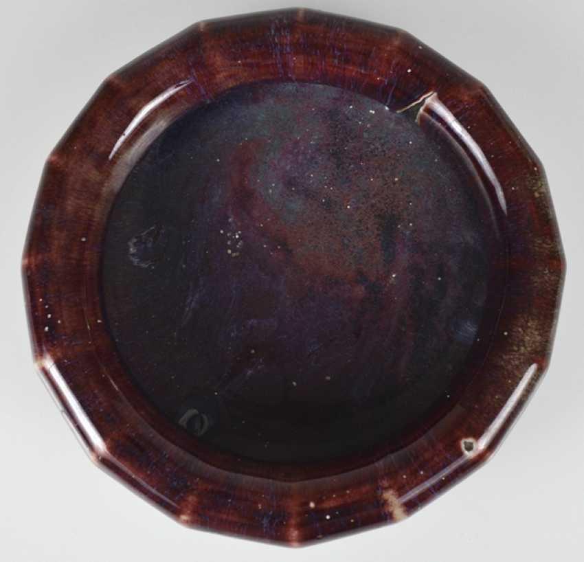 Brush washer with Flambé glaze and three porcelains with 'ge'-glaze - photo 2