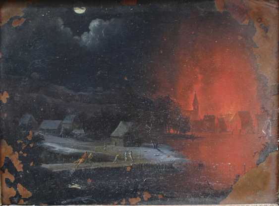 Dutch School late 17th Century, One night landsacpe with burning village and peasants in the foreground and one landscape with bathers in landscape - photo 2
