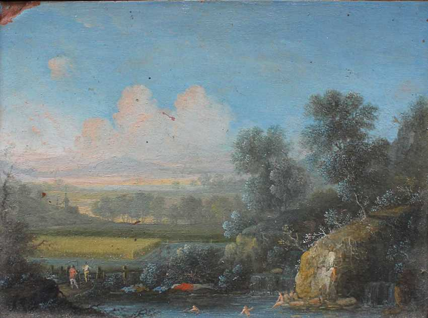 Dutch School late 17th Century, One night landsacpe with burning village and peasants in the foreground and one landscape with bathers in landscape - photo 3