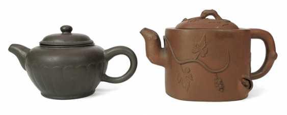 Two Zisha teapots, one with plastic grape vines decor - photo 1