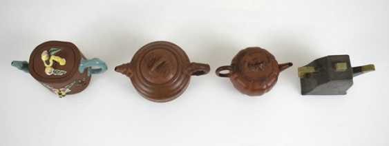 Four teapots from Yixing-ceramic and Pewter - photo 2