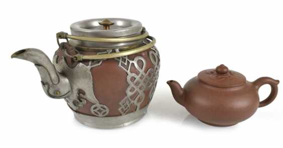 Two teapots made from Zisha-Ware, one with brass fittings - photo 1