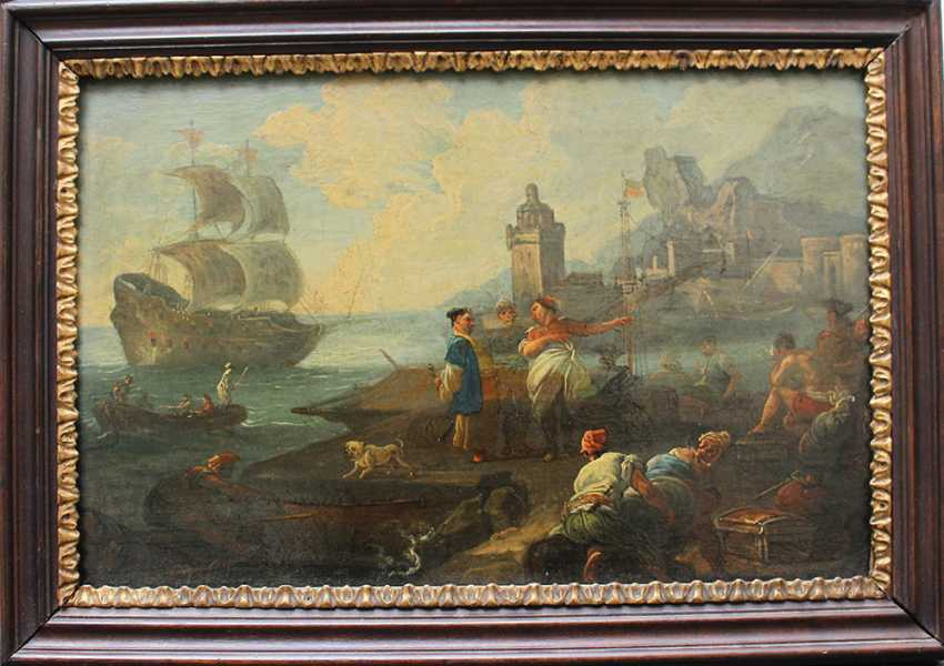 Adrien Manglard (1695–1760), Port scene with ships, tradesmen and fishers, in the background a fortress by the sea - photo 1
