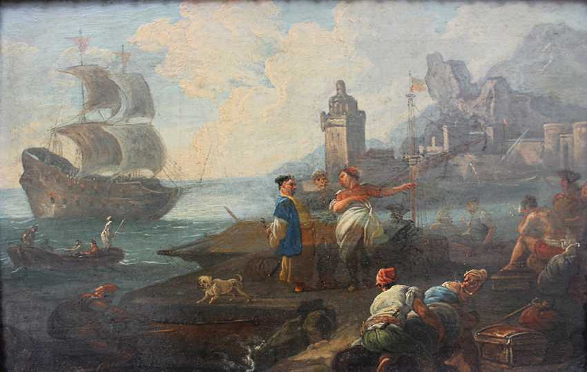 Adrien Manglard (1695–1760), Port scene with ships, tradesmen and fishers, in the background a fortress by the sea - photo 2