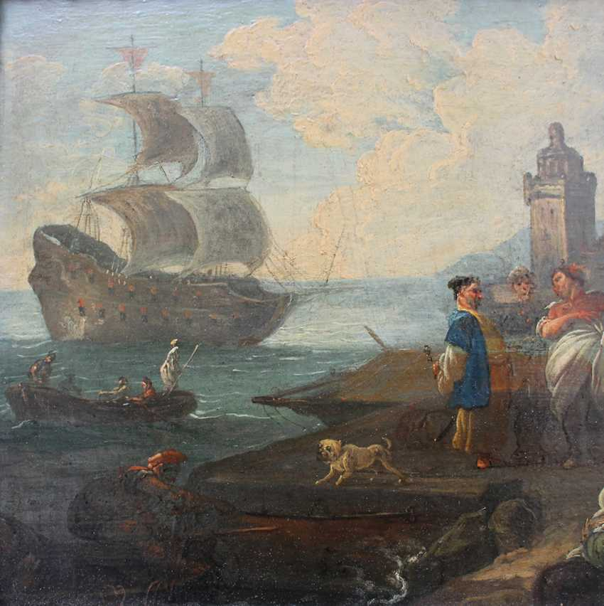Adrien Manglard (1695–1760), Port scene with ships, tradesmen and fishers, in the background a fortress by the sea - photo 3